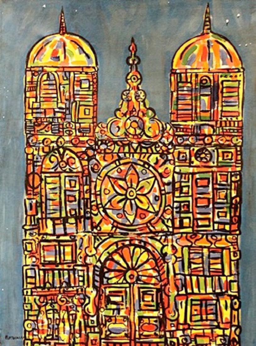 Rene Portocarrero - The Church - Oil on canvas
