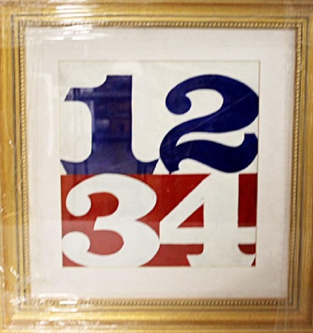 Robert Indiana - 1,2,3,4, - Oil on paper