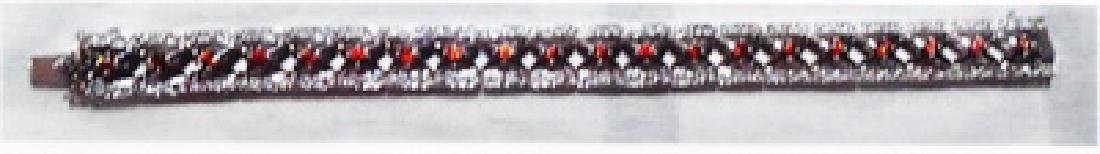 Ladys silver lab orange sapphire bracelet