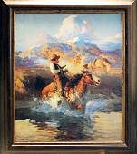 "Framed Giclee On Canvas ""Trouble On The Pony Express"""