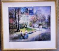 "Framed Lithograph ""Happy-Go-Lucky, Paris"" Rene Morse"