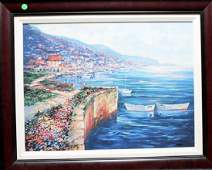 "Original Framed Giclee on Canvas ""Cliffside view"""