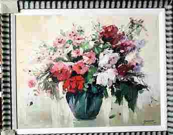 """Framed Original Embellished Giclee """"Florals IV"""" by"""