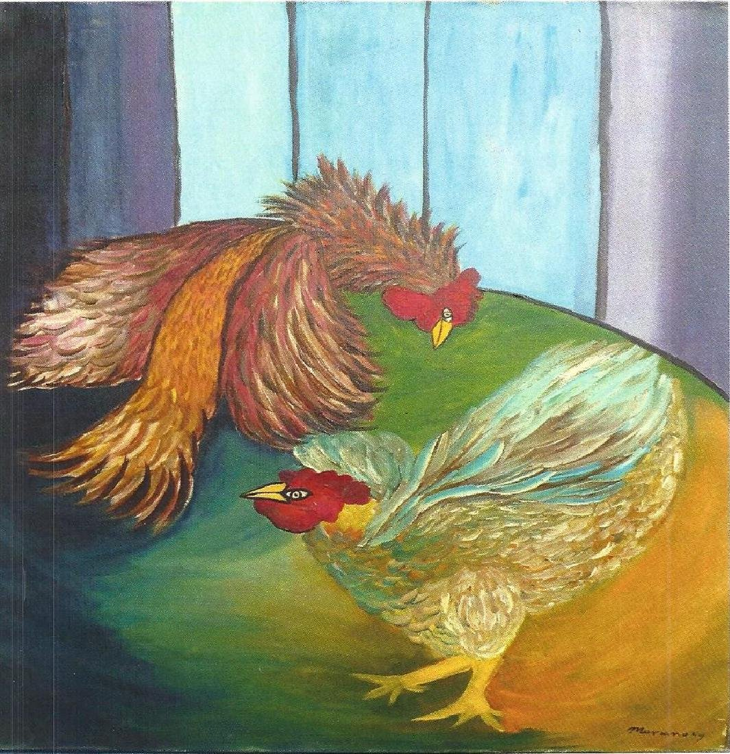 Cockfight - Mariano Rodriguez - Oil On Canvas