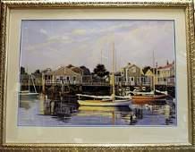"""Framed Lithograph """"Dead Calm, Nantucket"""" Sergio Roffo"""