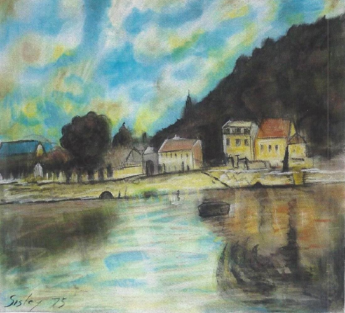 Boat At Bougival - Alfred Sisley - Pastel On Paper