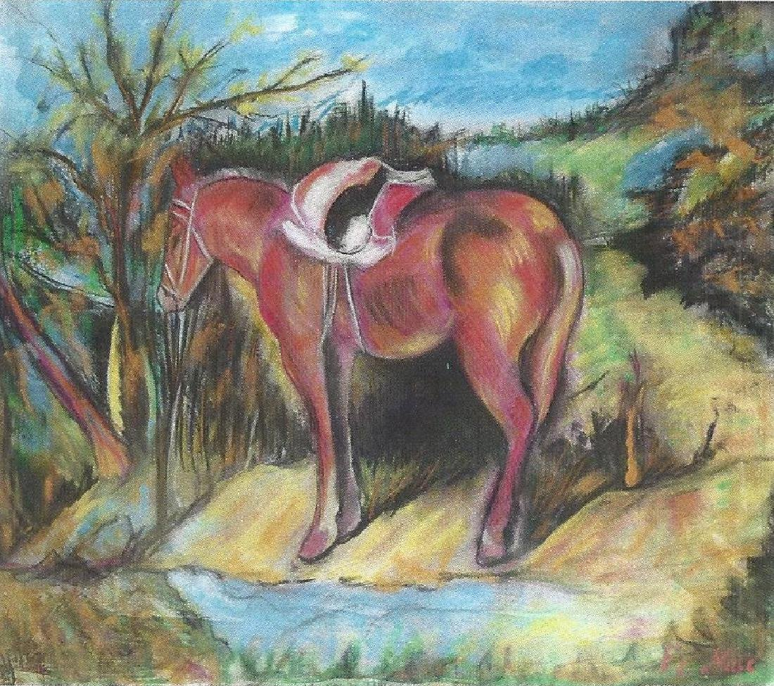 The horse - Franz Marc - Pastel On Paper