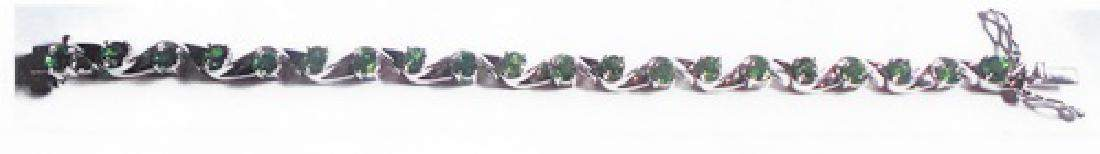 Ladys silver lab green emerald bracelet