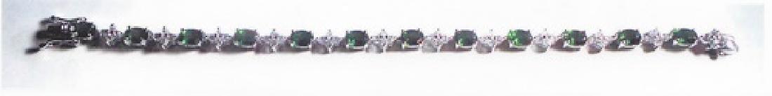 Ladys silver lab green tourmaline bracelet