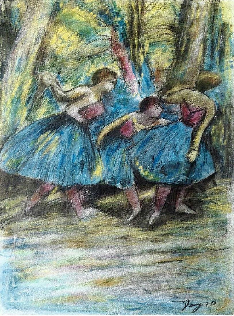 Three Dancers - Edgar Degas - Pastel On paper