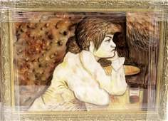 Henri De Toulouse - Woman At The Table - Pastel on