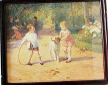 "Framed Lithograph ""Playing With The Hoop"" Victor"