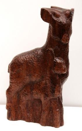 "Joseph Constant (18921969), Wood sculpture, ""Young Goat"