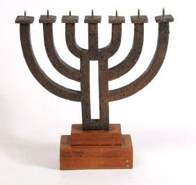 Brass Menorah 7 Candles by Frank Meisler, Jaffa 1972.