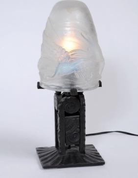 French Art Deco night lamp, ca. 19201930. Artisan