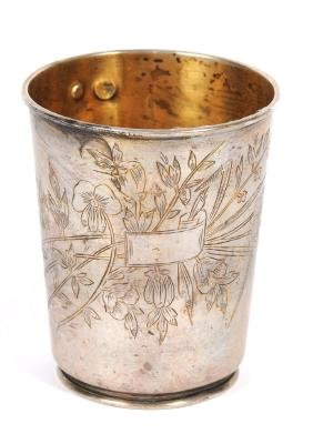 Ottman cup, Art Nouveau engraving style, signed by