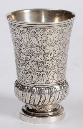 Special European Silver kiddush cup, 19th century.