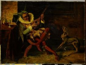 """Oil on canvas painting, """"A Clown and his Dog"""","""
