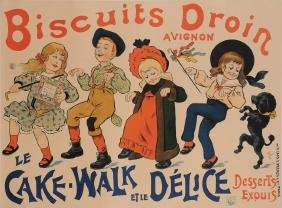 """Original Vintage French Food Poster """"Biscuits Droin  Le"""