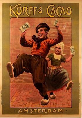 """Original Vintage Dutch Poster """"Korff's"""" Cacao Chocolate"""