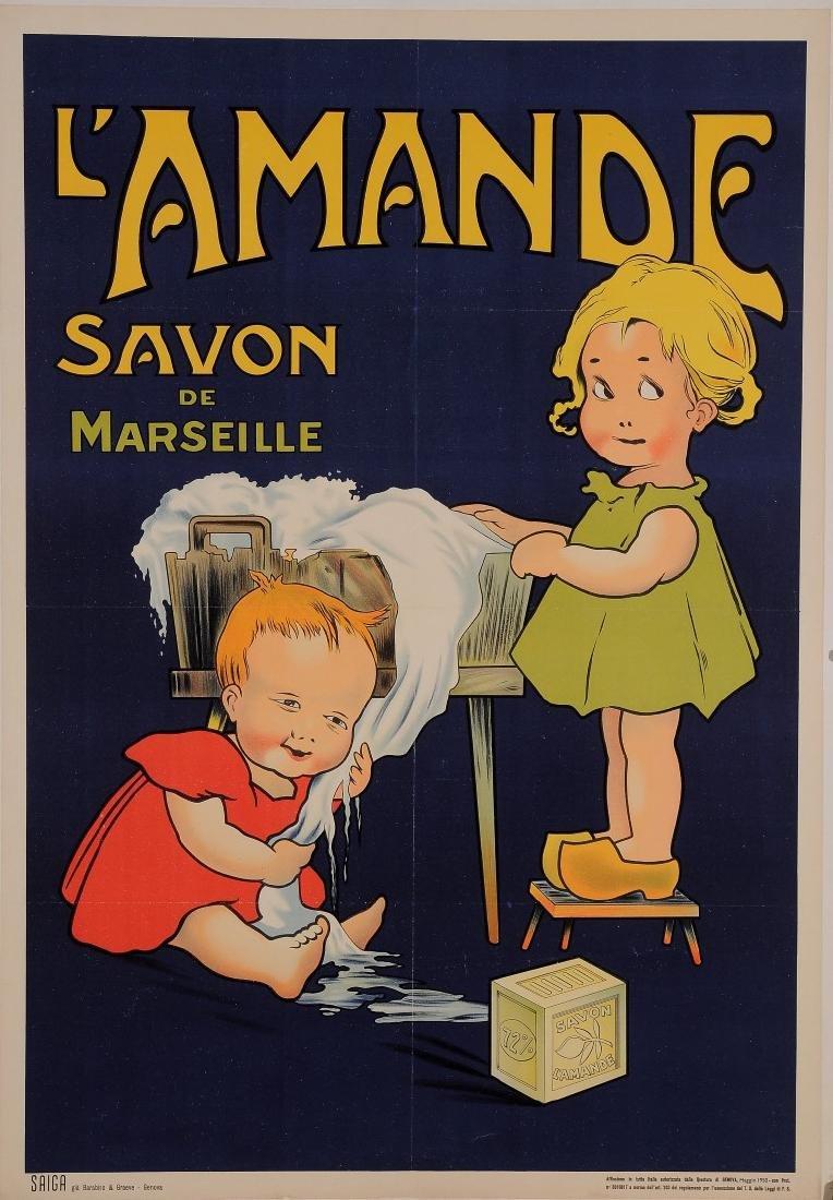 "Original Vintage French Poster for ""L'Amande Savon de"