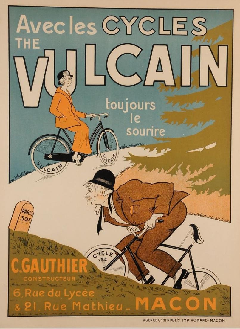 "Poster Advertising Bicycle ""Vulcain"" ca. 1900"