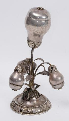 Etched Silver Spice Tower Pear Shape 18th Century