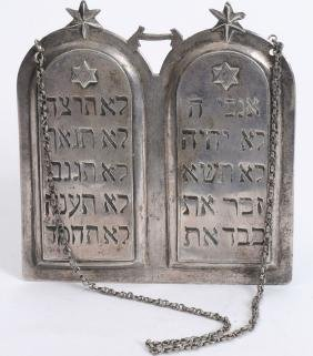 Large Silver Torah Shield , 19th century, handmade,