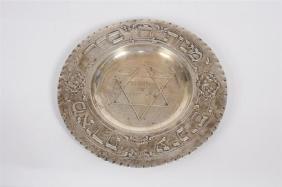 Polish Silver Havdalah Tray 19th C., Inscribed, Signed