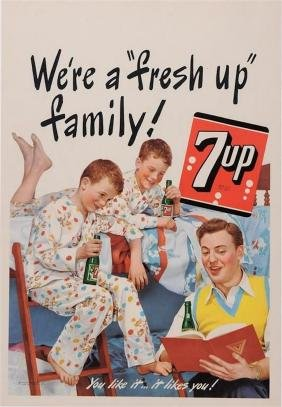 "American Poster for ""7up"" Soda Soft Drink, 1948"
