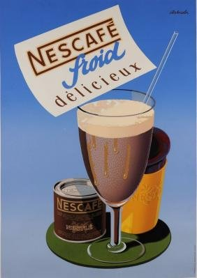 "Original Vintage Swiss Poster Advertising ""Nescafe"""