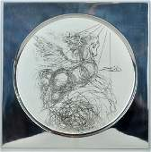 Salvador Dali Engraving on 925 Sterling Plate