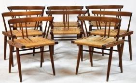 George Nakashima, 8 Grass Seat Chairs, 20th C.