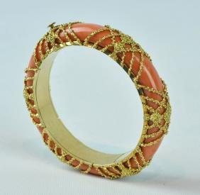 Van Cleef & Arpels 18kt Gold & Coral Bangle