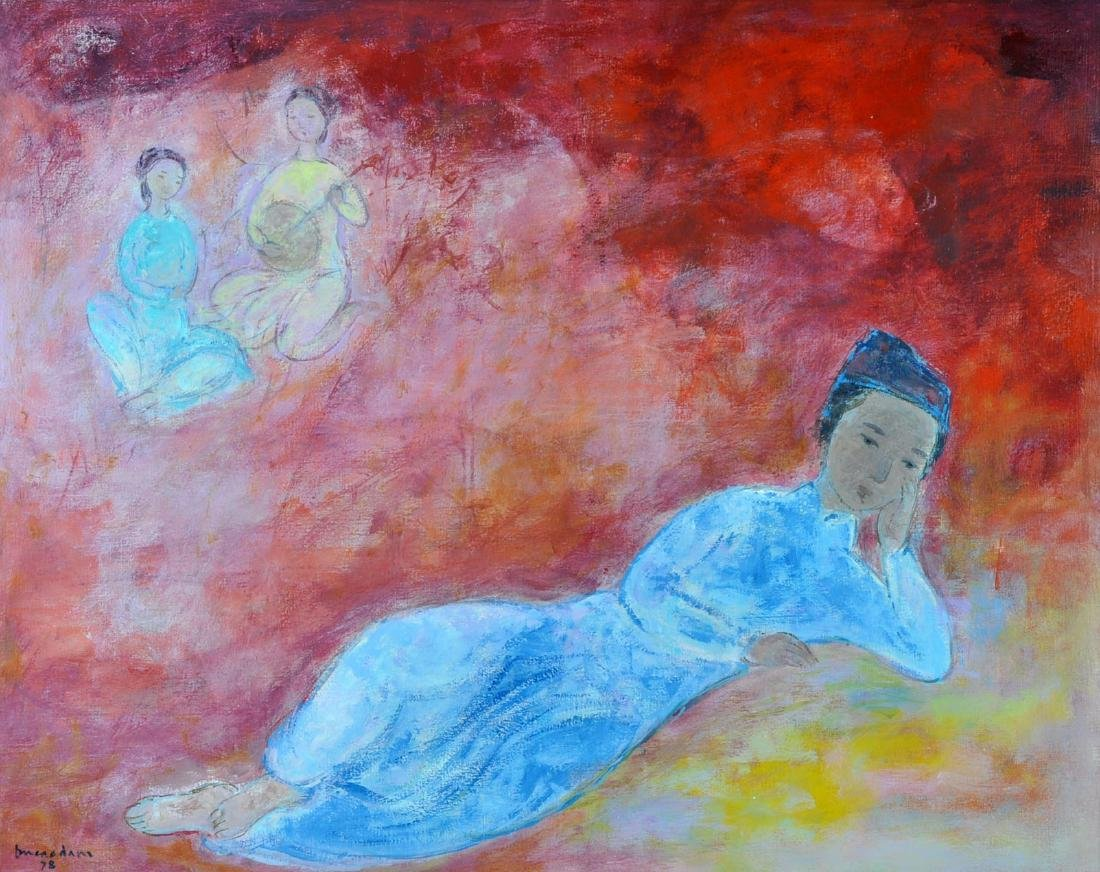 "Vu Cao Dam ""Le Poete"" Oil on Canvas"