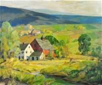 """William Eaton """"Vermont Hill Farm"""" Oil on Canvas"""