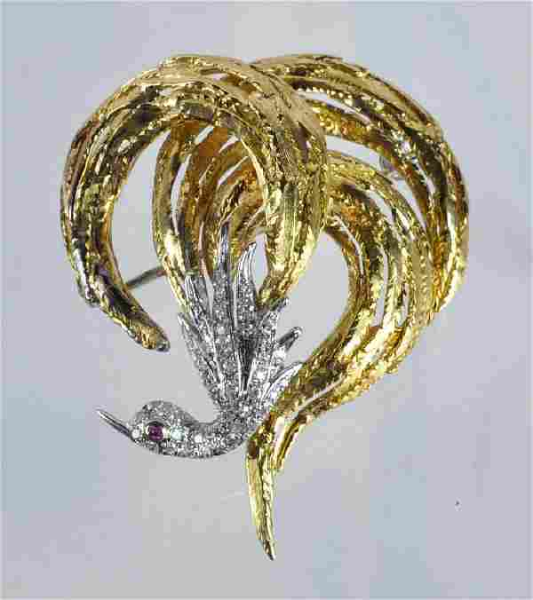 18kt Italian Gold & Pave Diamond Brooch