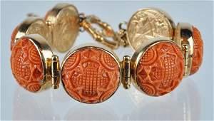 Stephen Dweck 18kt Rose Gold & Coral Bracelet