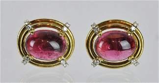 Gumps 18kt Pink Tourmaline  Diamond Clip Earrings