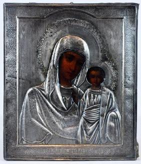 "Silver 19th C. Russian Icon ""Kazanskaya"""