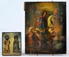 Two 19th C. Russian Icons on Wood