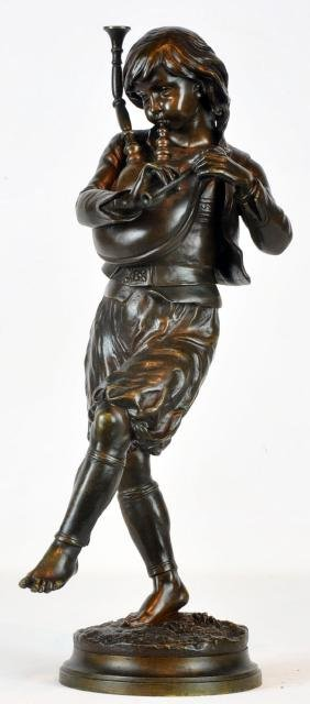 """Signed Charles G. Ferville Bronze """"Young Musician"""""""