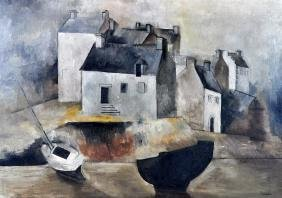 """Alice Halicka """"Quiet Town"""" Oil on Canvas"""