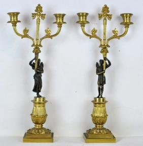 Pr. Empire Patinated Bronze Figural Candelabras