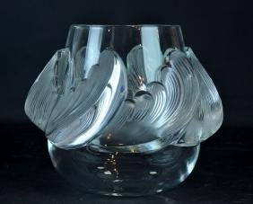 Lalique 'Vagues'  Waves Crystal Vase, Mid 20th C.