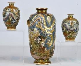 Japanese Satsuma Vase & Pr. Sm. Satsuma Vases