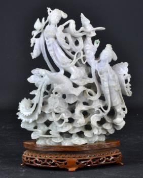 Chinese Carved & Reticulated Jade on Wood Base