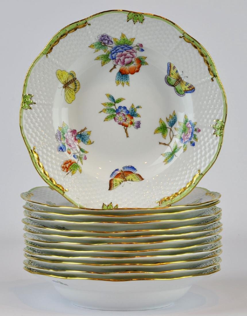 Herend Queen Victoria Rim Soup Bowls #504