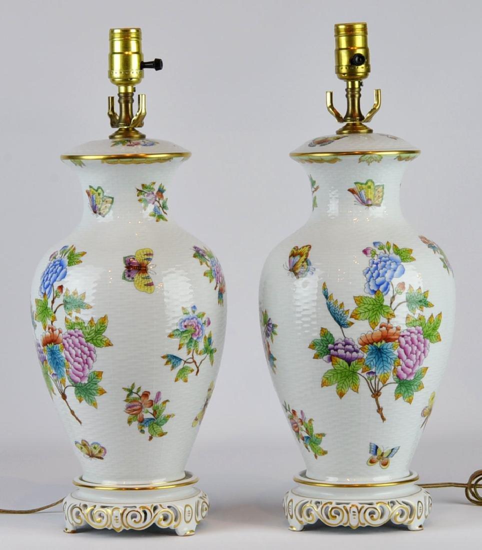 Pr. Herend Queen Victoria Porcelain Table Lamps
