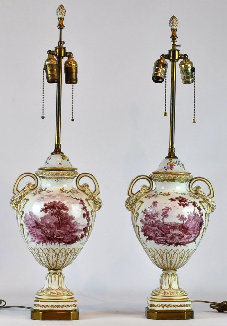 Pr. French Faience Porcelain Table Lamps